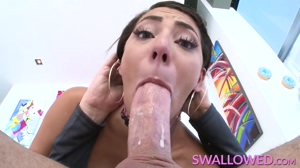 Spicy latina gagging on hard cock