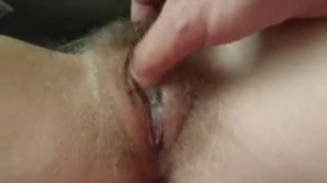 Babe Playing with Her Hairy Pussy