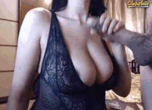 Busty Babe Sucking Cock on Webcam