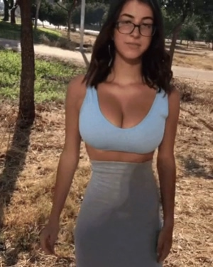 Huge boobs in the park