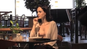tits out in the restaurant