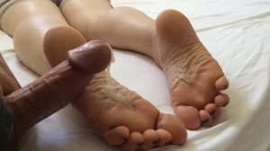 Cum on soles and black toes