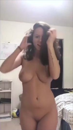Busty amateur strips and bounces