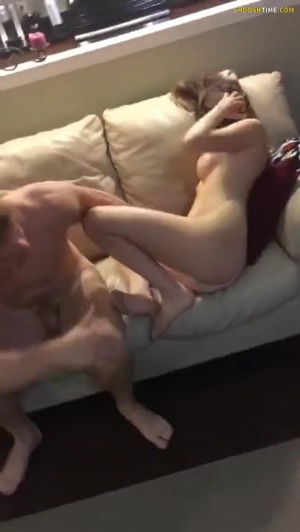 Busty Amateur Riding on Couch