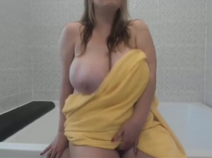 busty amateur bathroom orgasm