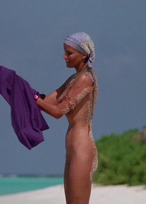 Bo Derek tanned topless beach plot from Ghosts Can't Do It