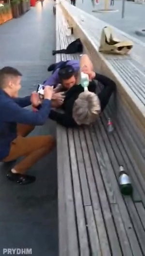 Cheerful company drinks vodka, licks blonde's pussy and takes pictures on smartphones