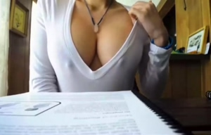 Showing my tits as I study