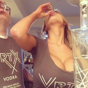 Busty Baby Doll doing shots