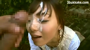 Asian beauty gets thick facial