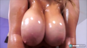 One minute of Daria's swinging oiled tits