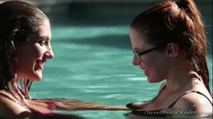 Lesbians Kissing in the Pool