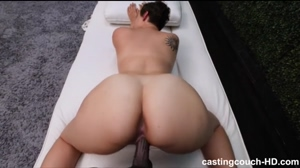 Amateur with huge natural tits in her fist interracial sex audition HD