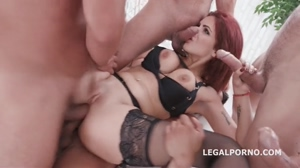 Busty redhead fucked by 5 guys.