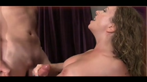 Mistress makes him spray her tits