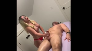 BUSTY HORNY MILF IN HOME MASSAGE