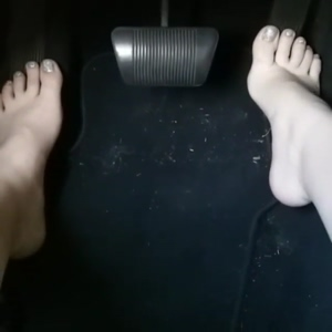 Driving barefoot with my smooth soles