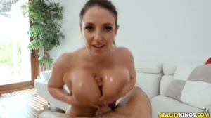 Angela White playing with her boobs