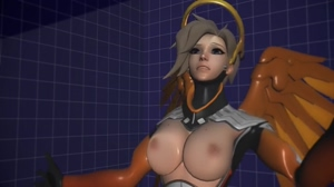 Mercy rubbing her tits against glass