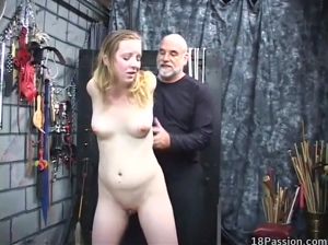 Bound coed spanked hard by her master