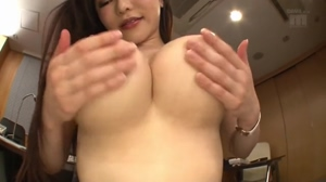 Anri Okita playing with her boobs