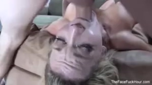Busty Blonde getting her Throat Fucked