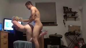 Rough Doggystyle with Blonde Camgirl