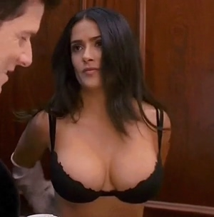 Salma Hayek stripping to her bra