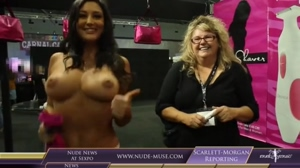 big boobed interviewer at a festival