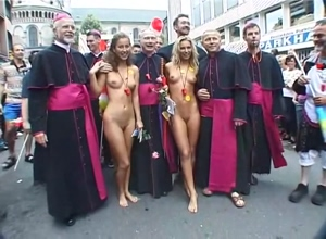 I Love a Parade. Pride festival in Germany. friends show up naked to Pride Parade. Naked at mardi gras
