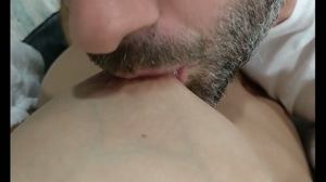 Sucking and teasing my wife's awesome nipples.
