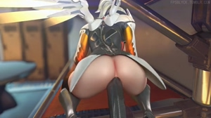 Mercy with giant dildo,