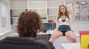 Busty babe getting fucked in the office