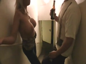 Drunk blonde with big tits fucks on the stairs with a stranger