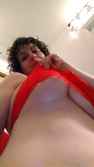Single boob drop in red lace