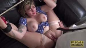 Big tits beauty fucked on a couch