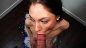 Huge facial for sexy brunette