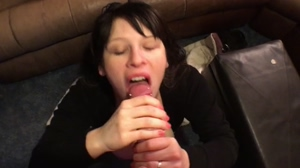 Bj & cumshot on big tits