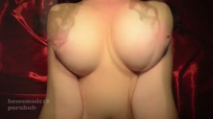 Busty Amateur Redhead Playing With Her Huge Tits