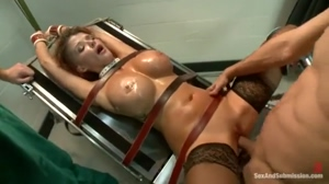 Joslyn James bound to gyno chair and fucked
