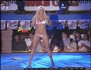 Torrie Wilson gets clobbered with a chair right before showing her tits