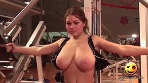 Huge boobs revealed while working out