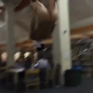 Naked backflip in the library