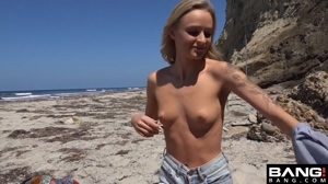 Stripping on the beach