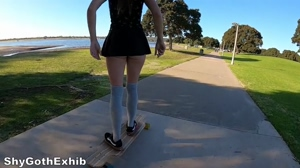 Trying out longboarding without panties!