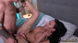Jerking her huge cock while getting fucked