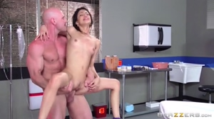 Bouncing on her doc's big cock