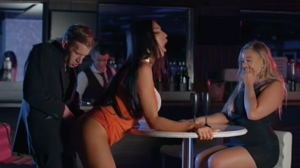 Porn parody- Hot women ass fucked in public bar with a huge white cock guy.