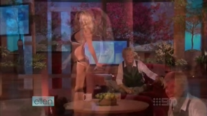 Pamela Anderson on Ellen's talk show in 2008.