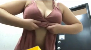 Busty girl drop and reveal